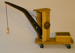Wooden riding crane toy
