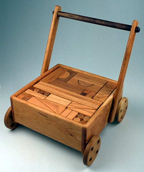 Wooden Toys For Toddlers : A toy block wagon with unit blocks gt